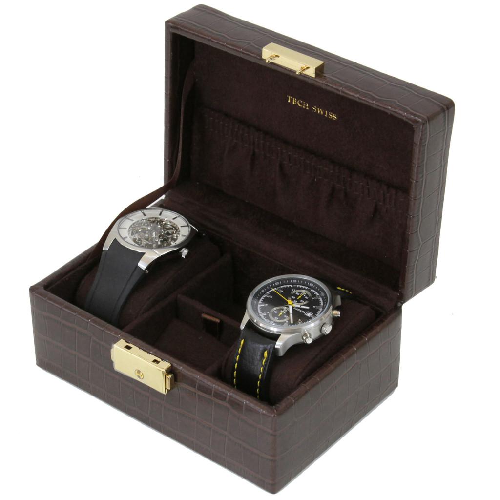 Compact Watch Cufflink Box | Compact Mens Cases | Small Dresser Top Organizers | Main