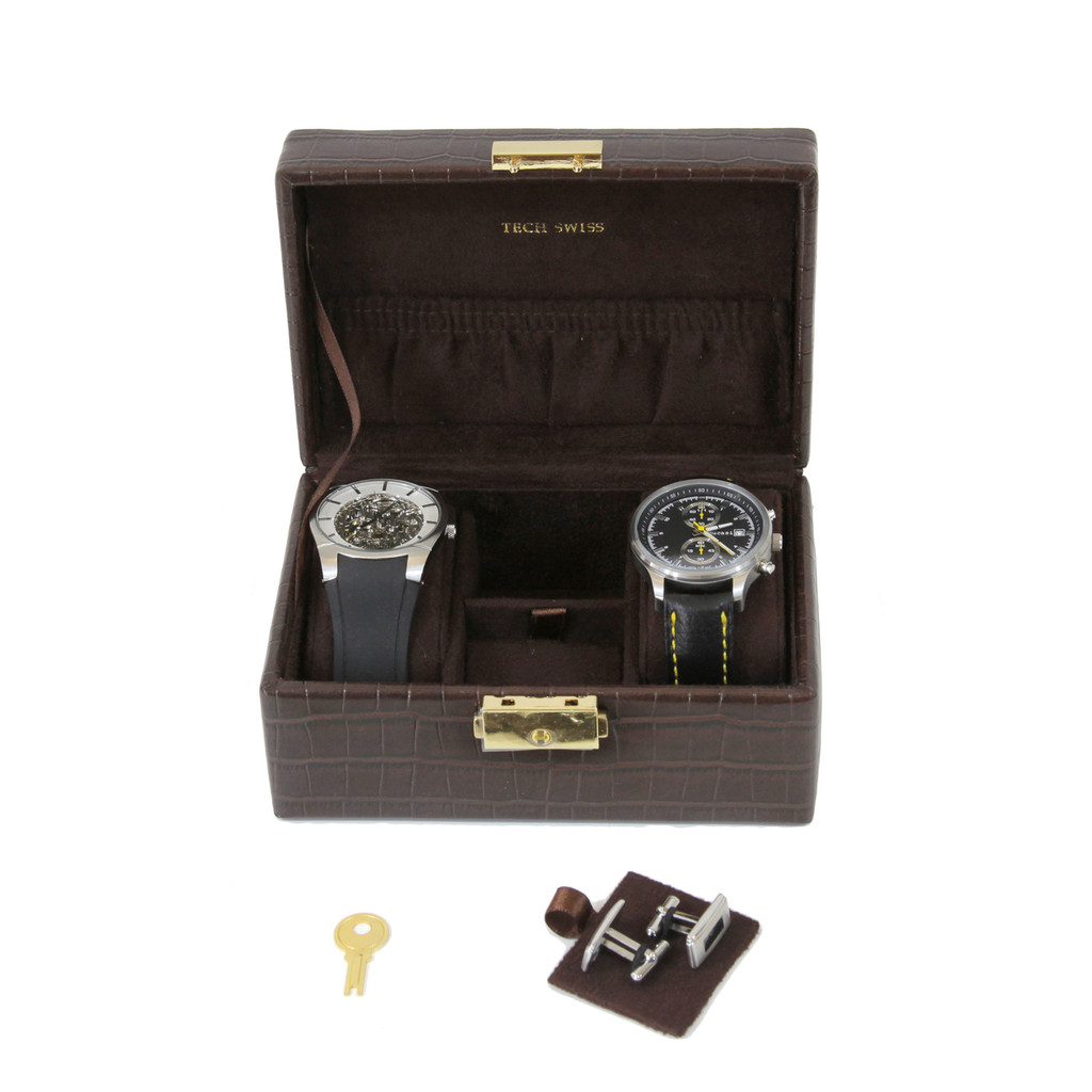 Compact Watch Cufflink Box | Compact Mens Cases | Small Dresser Top Organizers | Front
