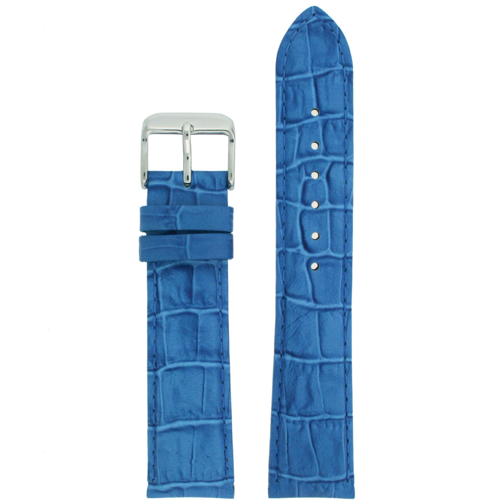 Cerulean Blue Alligator Grain Leather Watch Band | TechSwiss LEA673 | Main