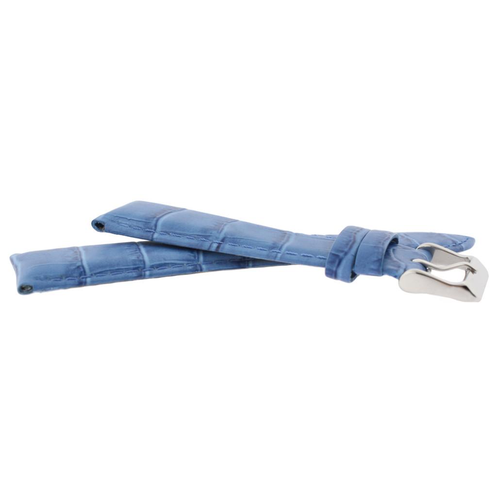 Cerulean Blue Alligator Grain Leather Watch Band | TechSwiss LEA673 | Side