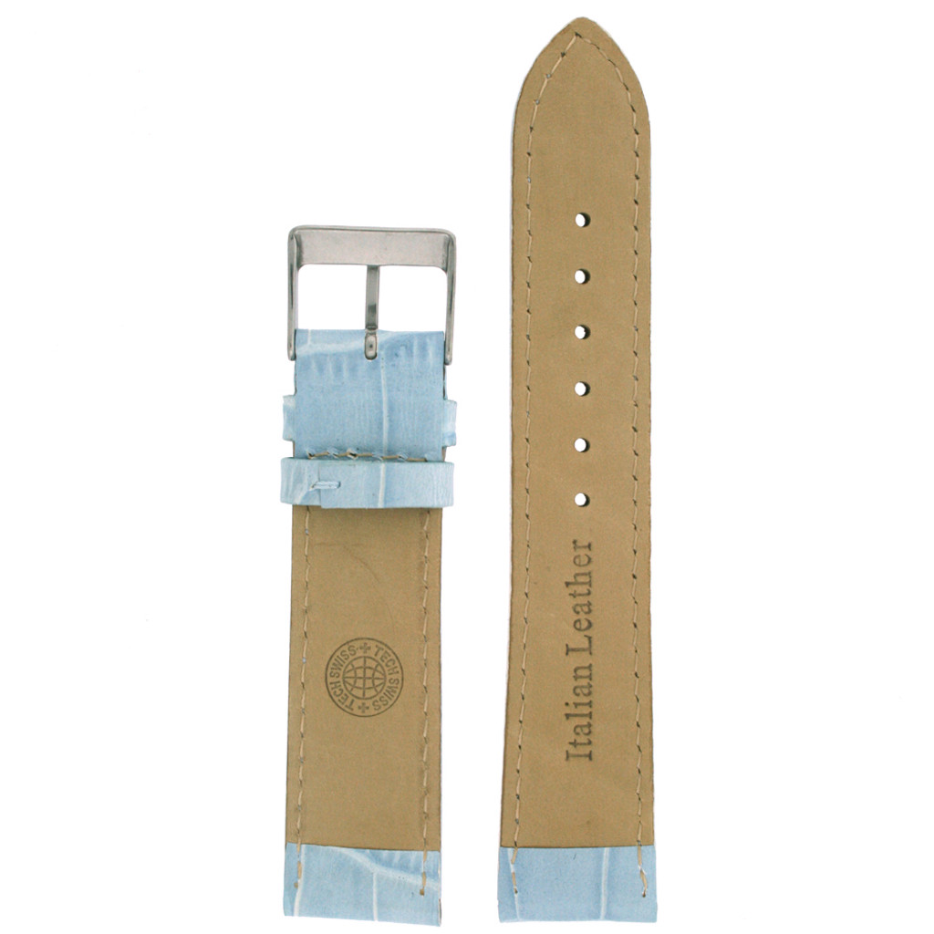 Light Blue Alligator Grain Leather Embossed Watch Band | TechSwiss LEA220 | Lining