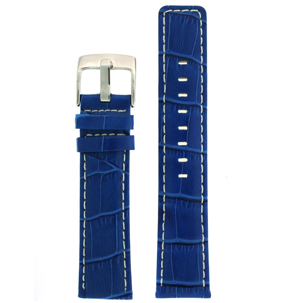Square Modern Blue leather Alligator Grain Watch Band   TechSwiss LEA467   Main