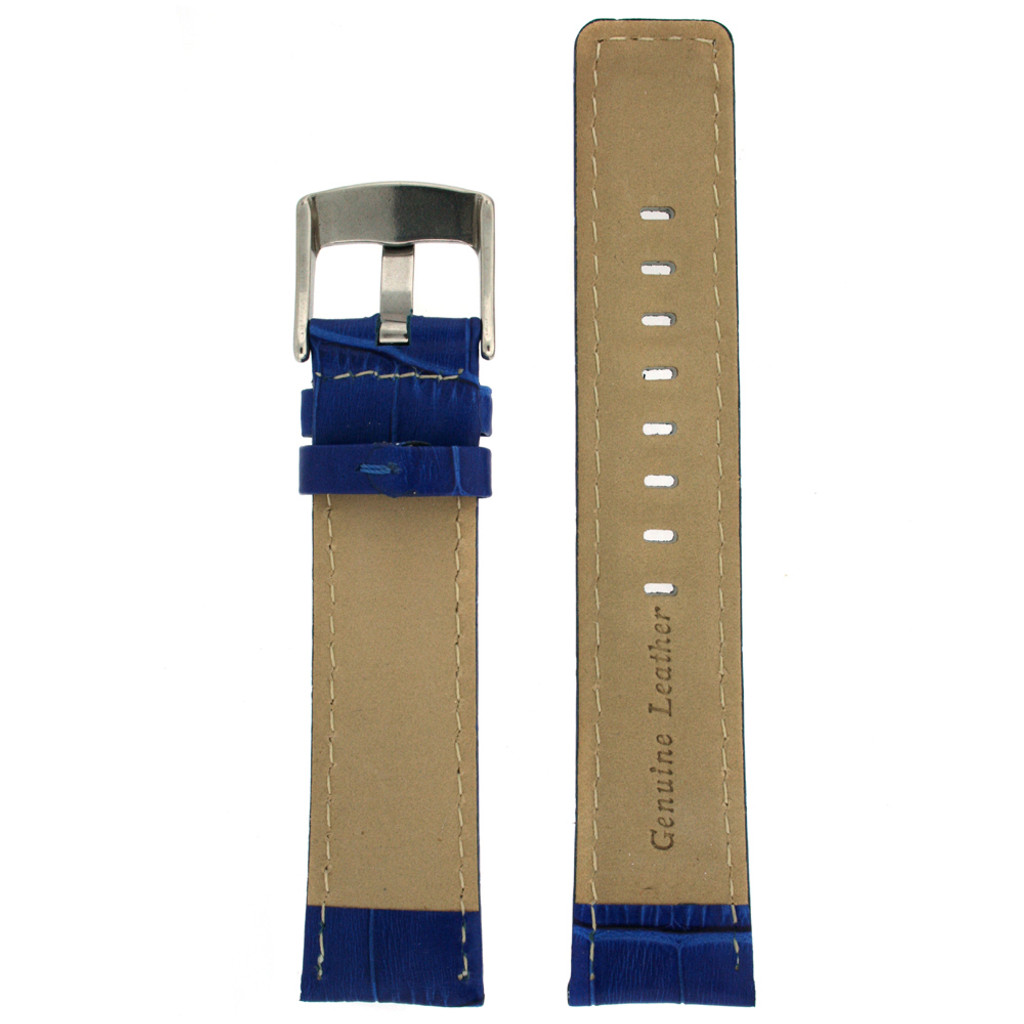 Square Modern Blue leather Alligator Grain Watch Band   TechSwiss LEA467   Lining