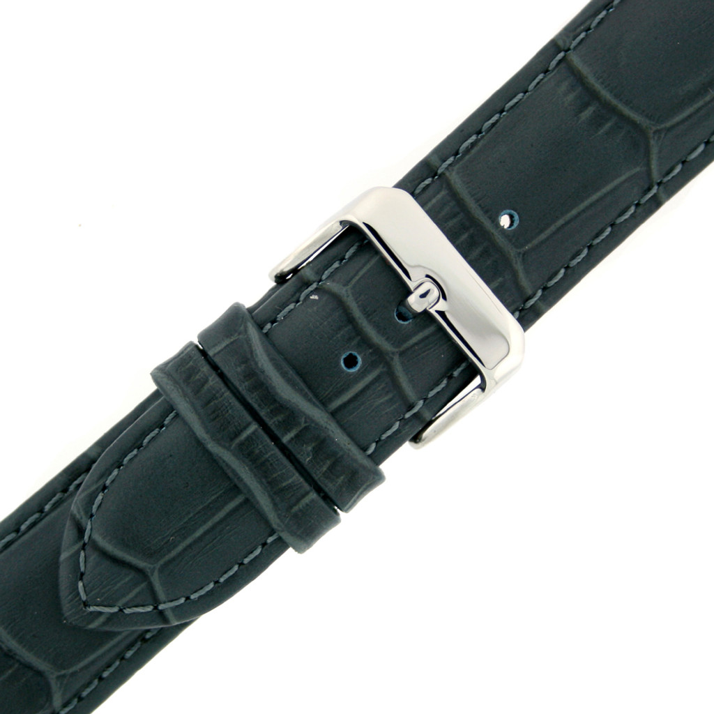 Leather Watch Band Charcoal Grey Alligator Grain Mens 18mm - 22mm