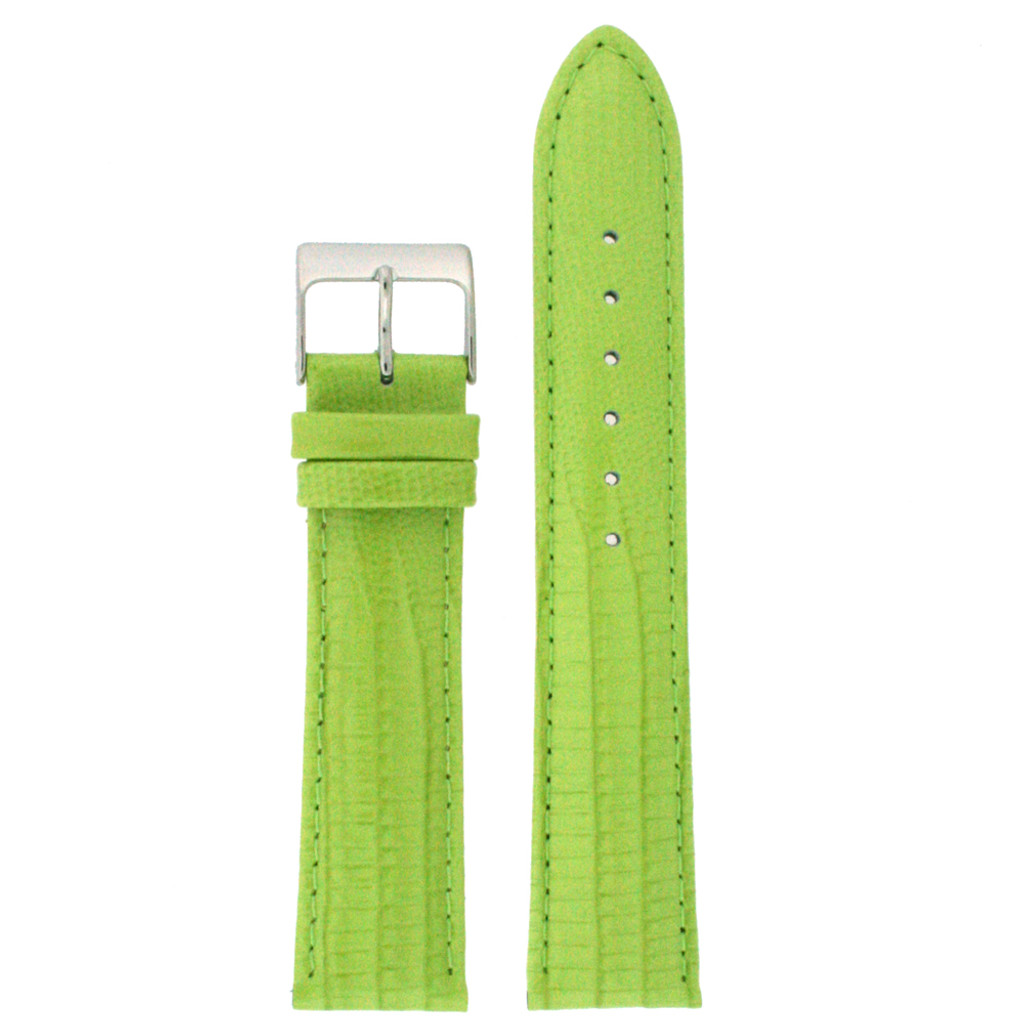 Lime Green Patent Lizard Grain Leather Watch Band   TechSwiss Leather Watch Bands    LEA416 Main