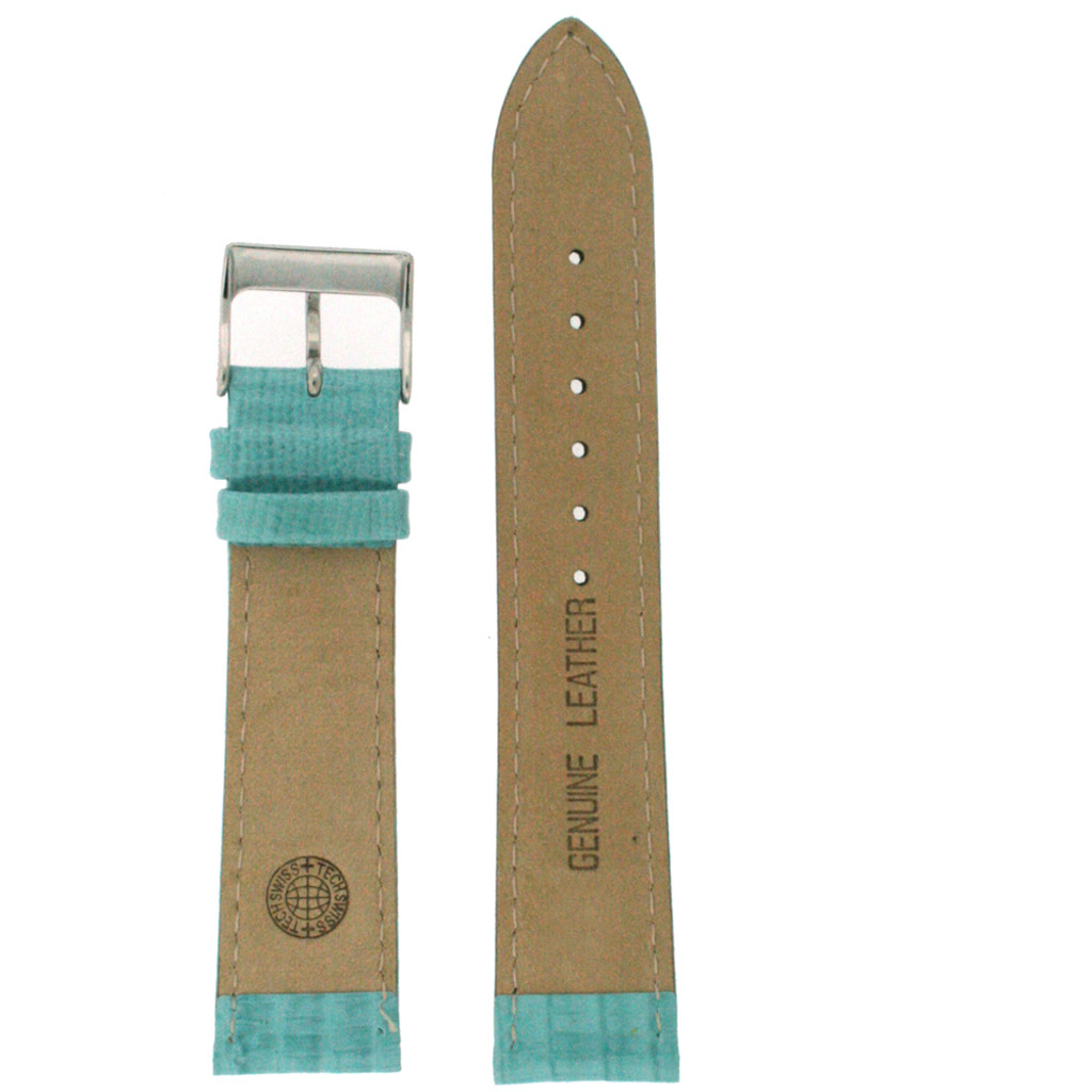 Aqua Patent Lizard Grain Leather Watch Band | TechSwiss LEA417 | Lining