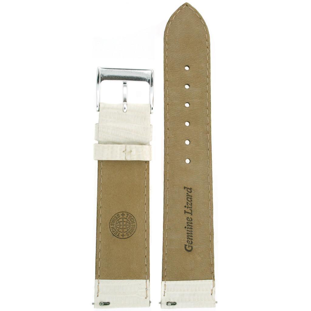 Genuine Lizard Watch Band in White LEA720 | Rear