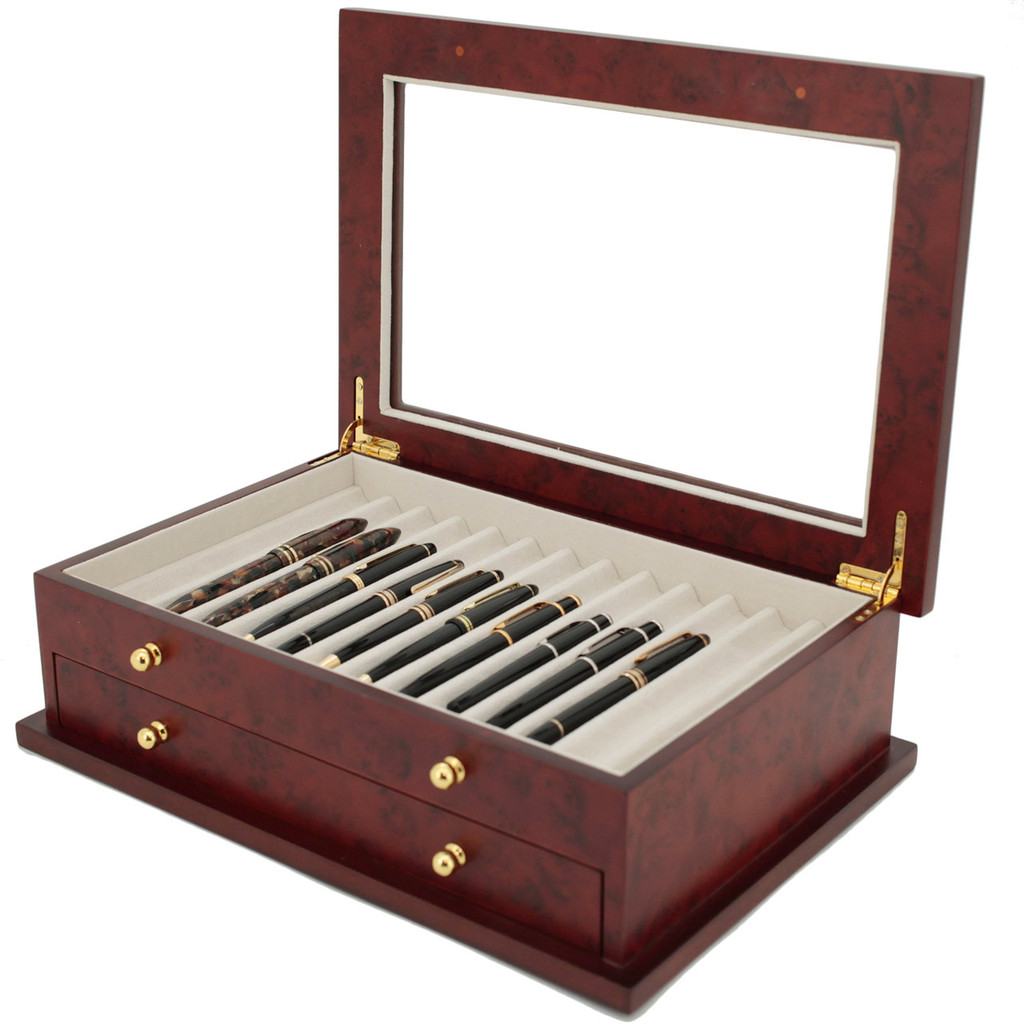 Burlwood Fountain Pen Box by TechSwiss | Wood Pen Display Case | TSBXPN26BUR | Open View