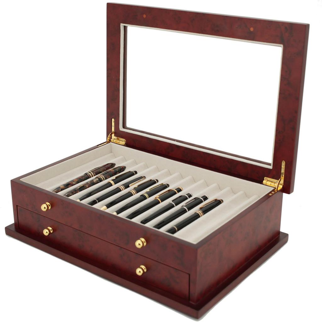 Burlwood Fountain Pen Box by TechSwiss   Wood Pen Display Case   TSBXPN26BUR   Open View