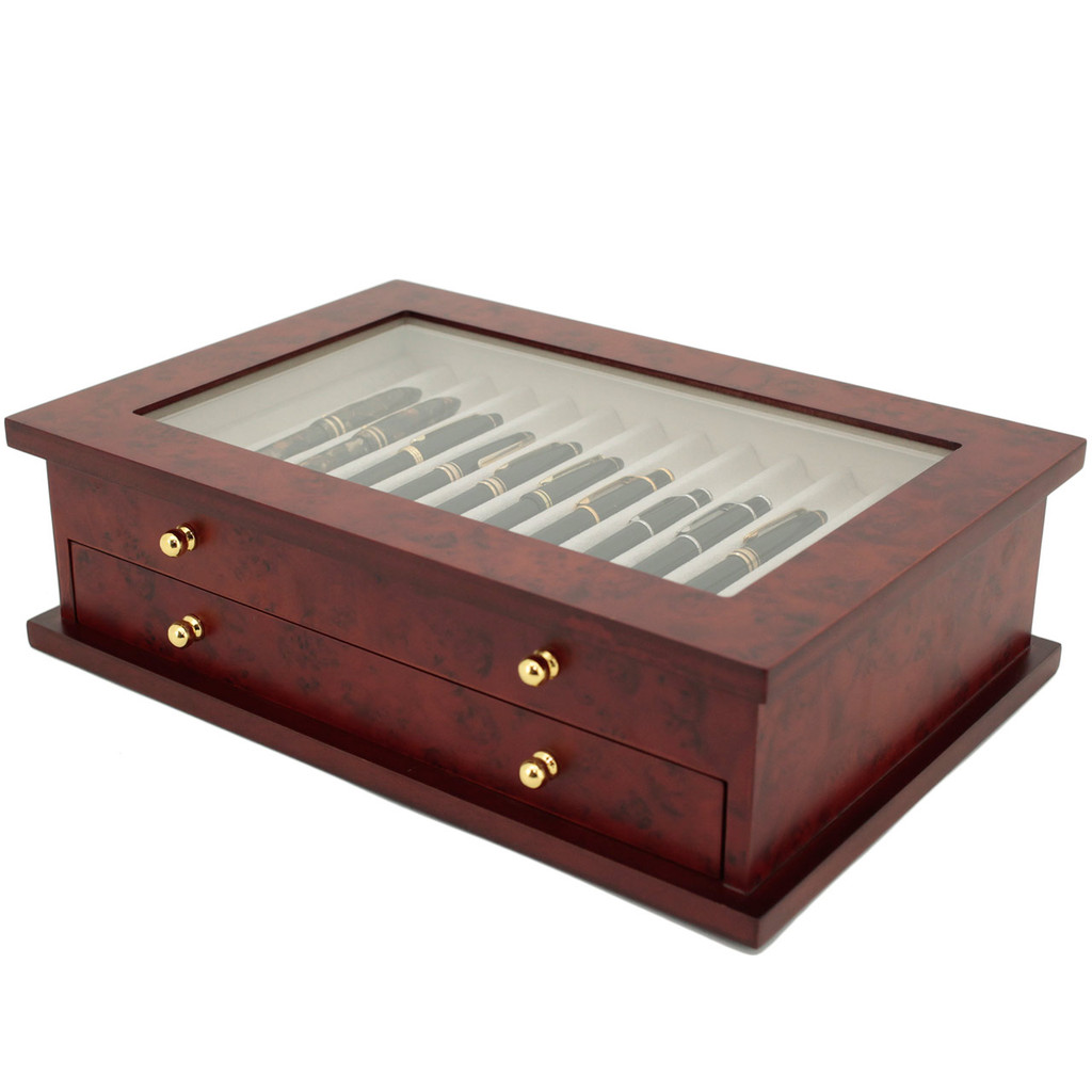 Burlwood Fountain Pen Box by TechSwiss | Wood Pen Display Case | TSBXPN26BUR | Side View