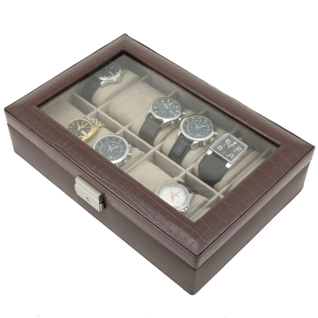 Brown Leather Watch Box with Crocodile Grain and Display Window | TechSwiss TS2890BRNW | Top