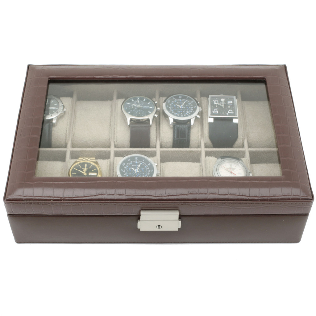 Brown Leather Watch Box with Crocodile Grain and Display Window | TechSwiss TS2890BRNW | Front