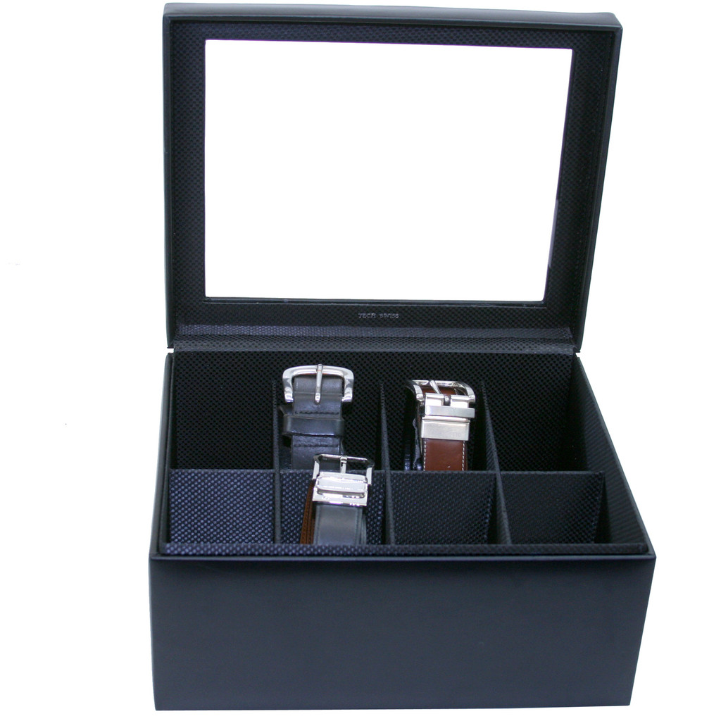 Mens Black Leather Belt Box & Organizer | TechSwiss TS6202BLK | Main View