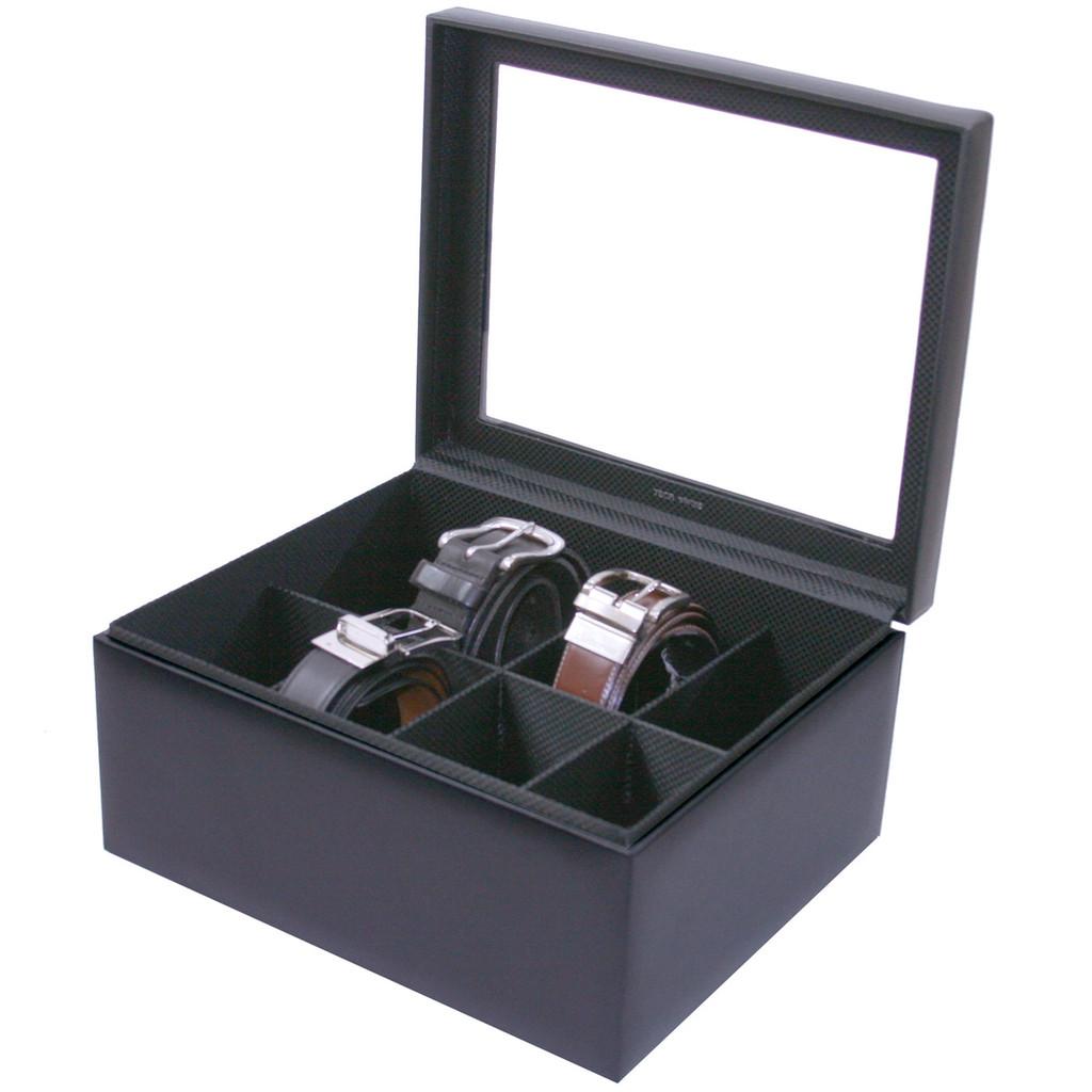 Mens Black Leather Belt Box & Organizer | TechSwiss TS6202BLK | Open View