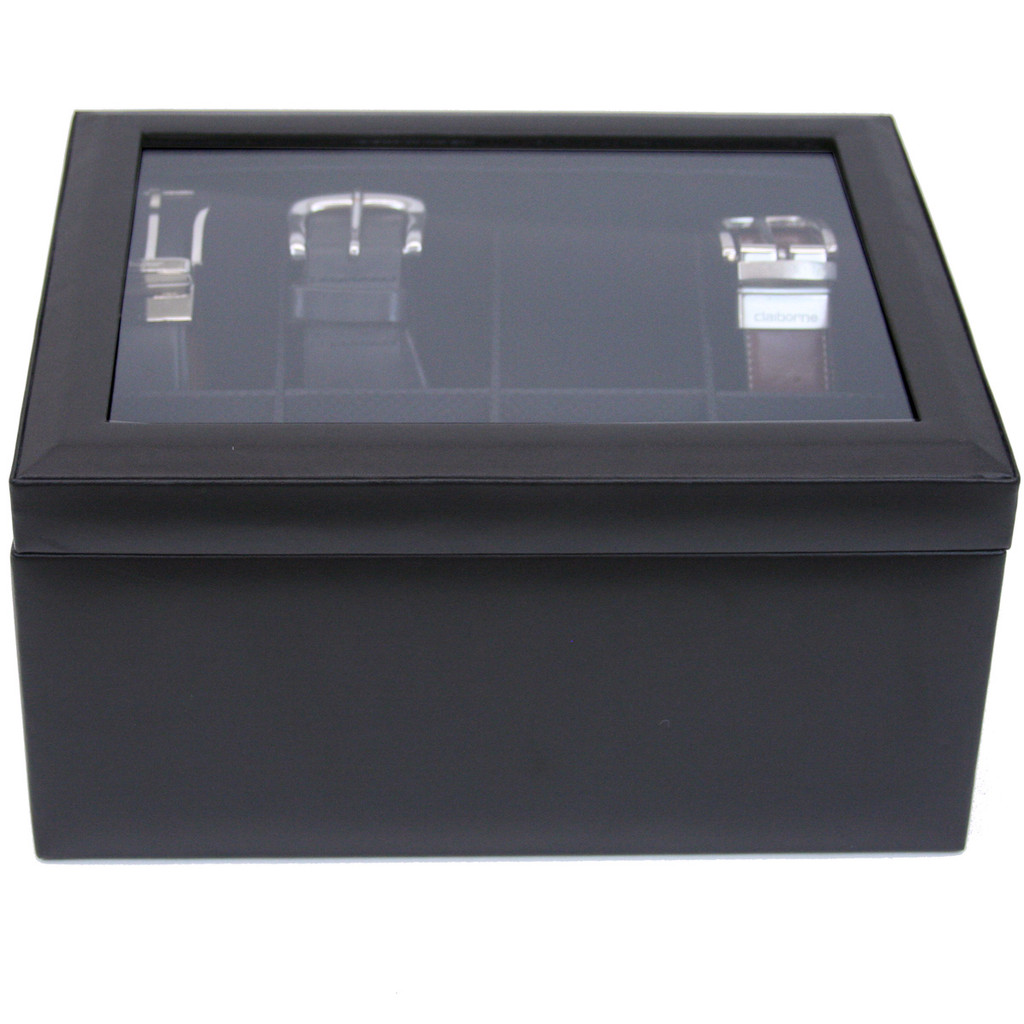 Mens Black Leather Belt Box & Organizer | TechSwiss TS6202BLK | Front View