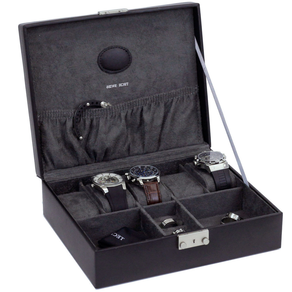 Black Leather Jewelry and Watch Box   TechSwiss Mens Cases   TechSwiss TS521BLK   Main