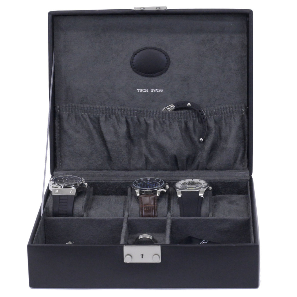 Black Leather Jewelry and Watch Box   TechSwiss Mens Cases   TechSwiss TS521BLK   Front