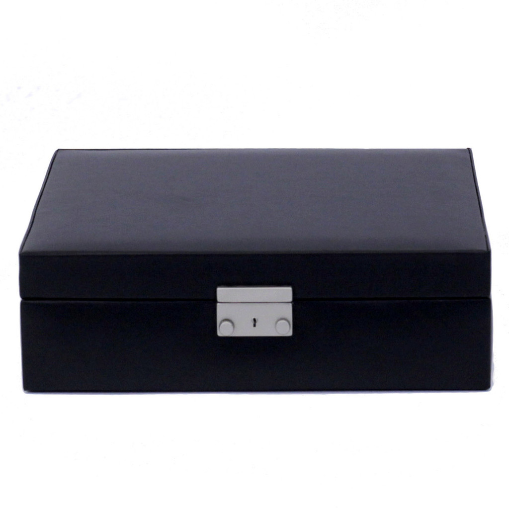 Black Leather Jewelry and Watch Box   TechSwiss Mens Cases   TechSwiss TS521BLK   Closed