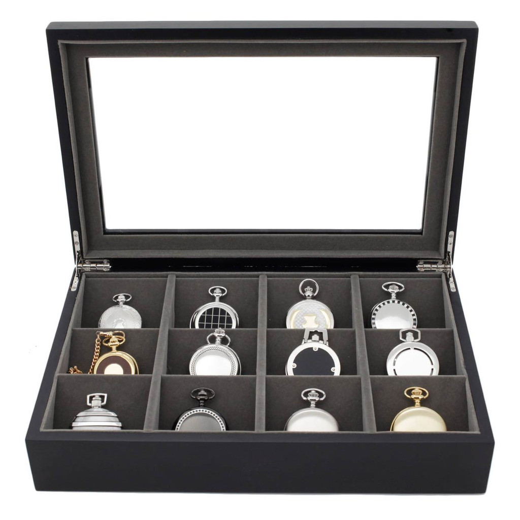 Pocket Watch Storage Case Front View TSPKT12BK