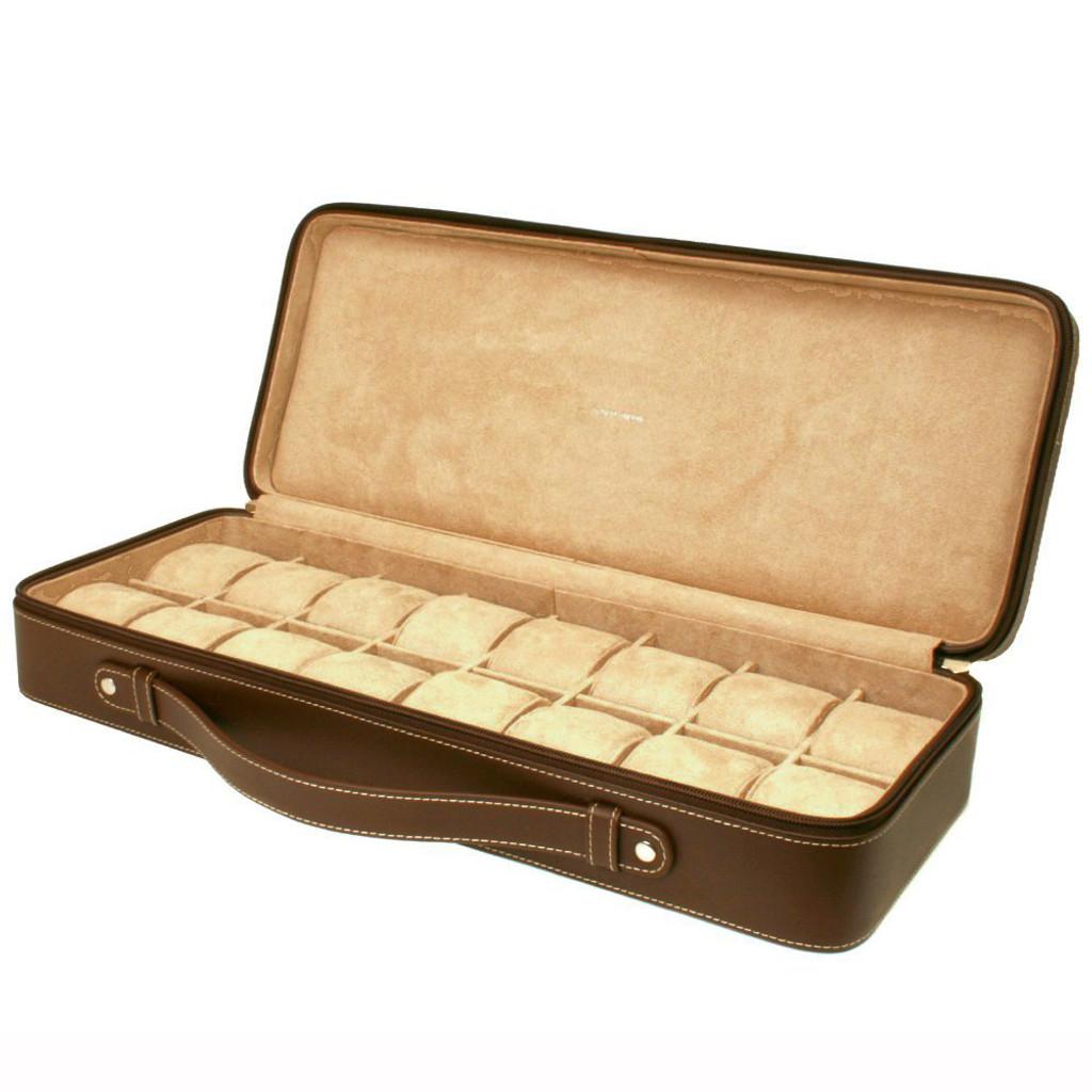 Leather Watch Briefcase in Espresso
