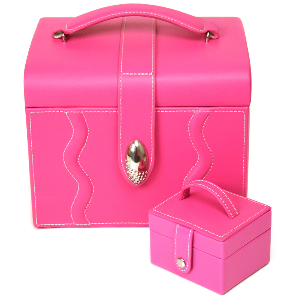 Pink Leather Large Jewelry Box with Rhinestone Buckle and Travel Case