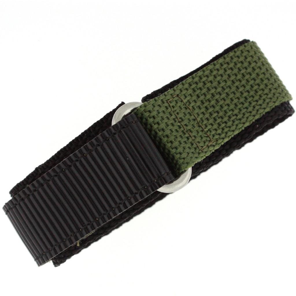 Olive Green Nylon Velcro Sport Watch Strap | TechSwiss VEL100G | Main