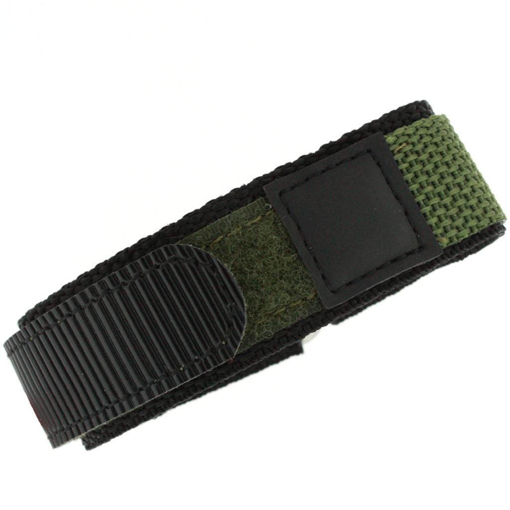 Olive Green Nylon Velcro Sport Watch Strap | TechSwiss VEL100G | 2