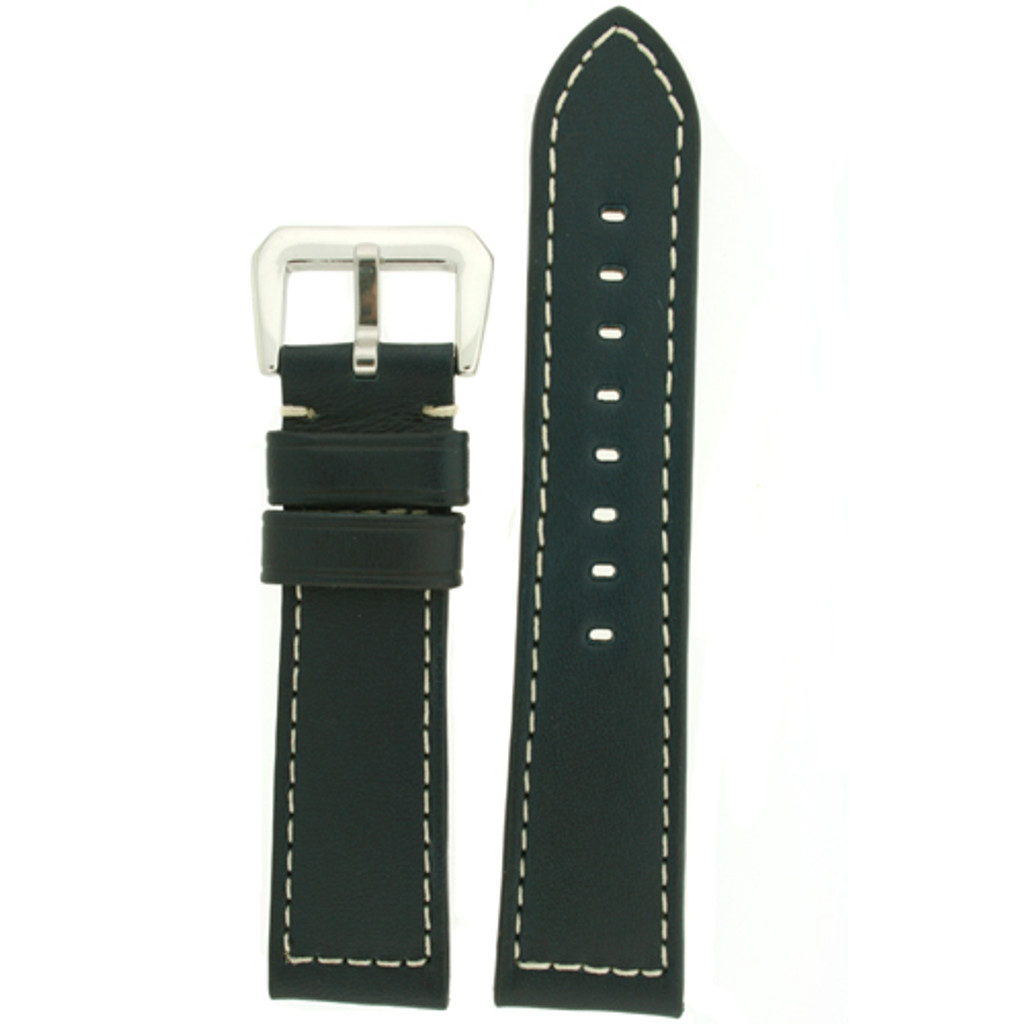 Watch Band Leather Blue White Stitching Heavy Buckle LEA490   Front