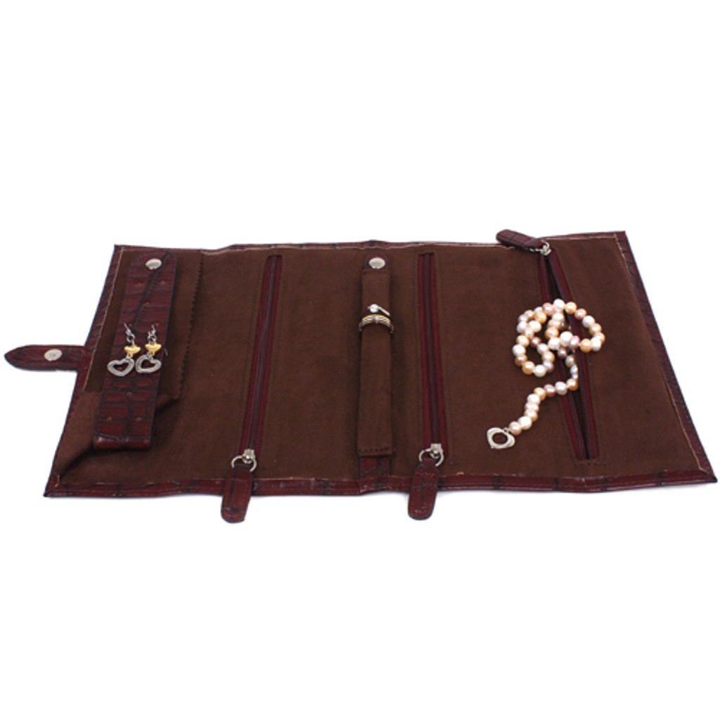 Travel Carry On Jewelry Organizer Roll Up Case Clutch Burgandy