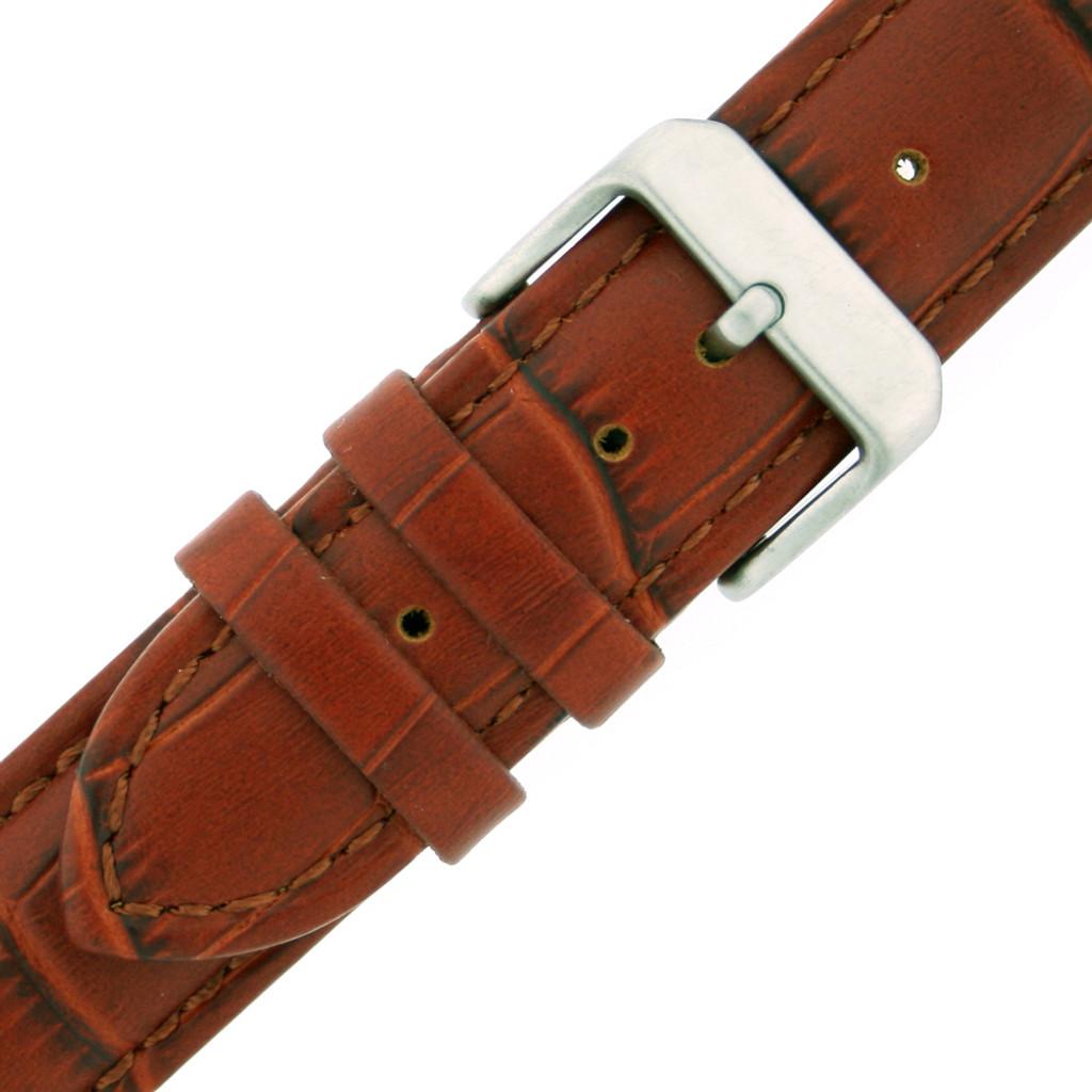 Watch Band Honey Brown Genuine Leather Strap Alligator Grain XXL