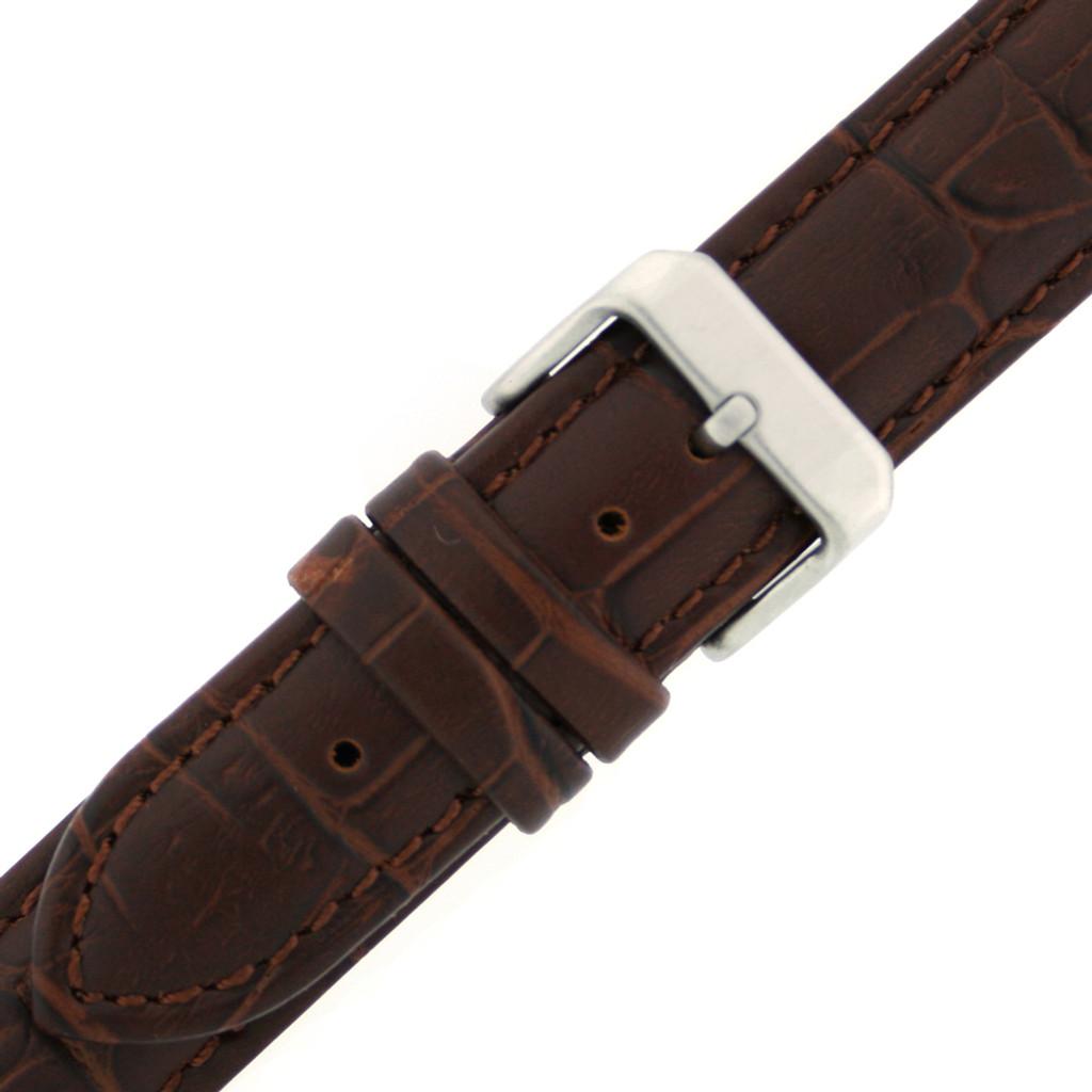 Watch Band Dark Brown Genuine Leather Strap Alligator Grain XXL
