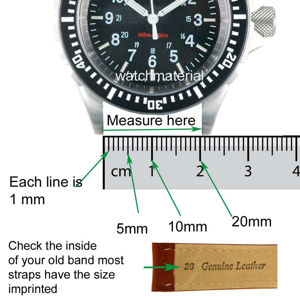 Extra Long Leather Watch Band in Black Matte Finish 18mm - 24mm