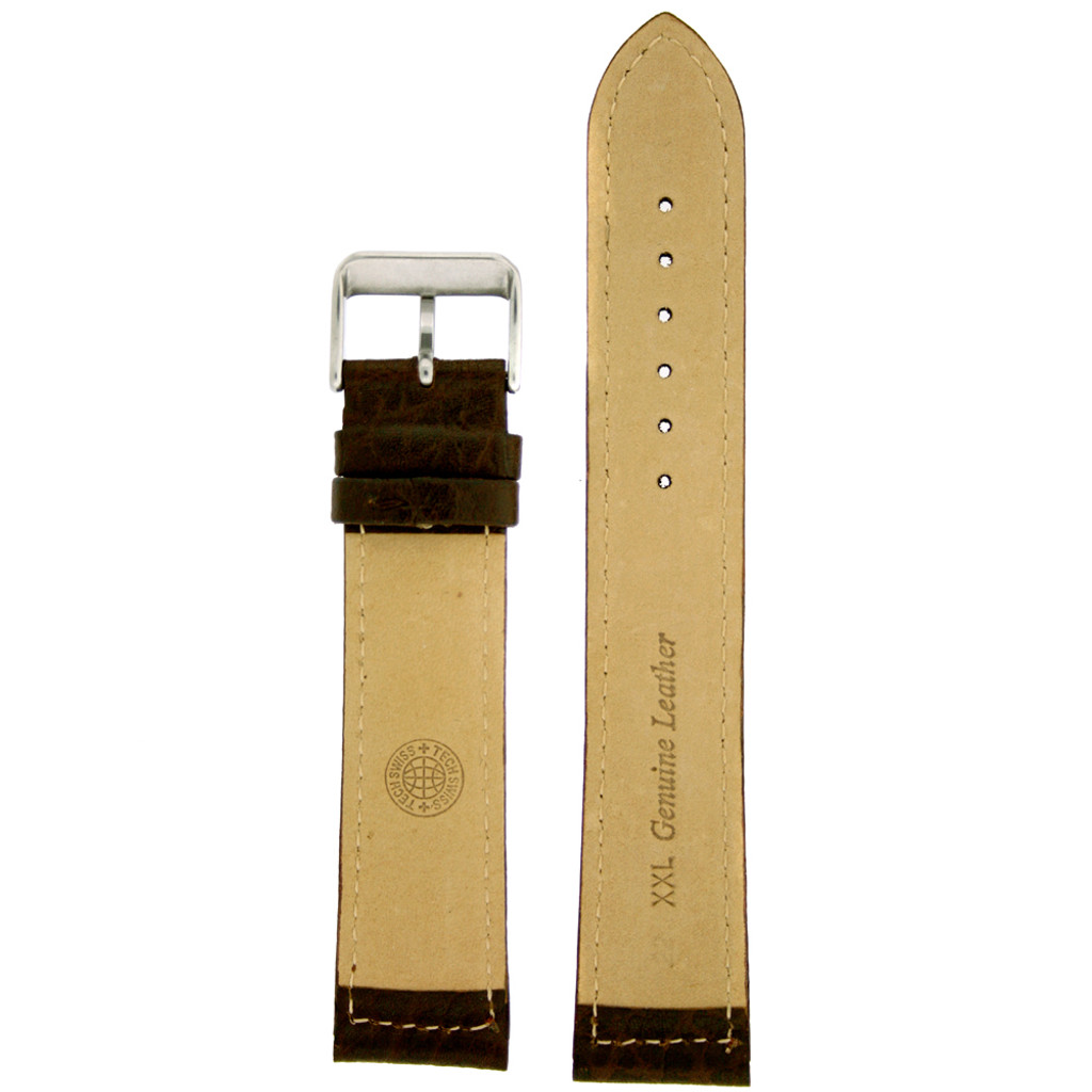 Dark Brown Long Leather Watch Band | Tobacco Brown Long Leather Straps | TechSwiss LEA1400 | Lining