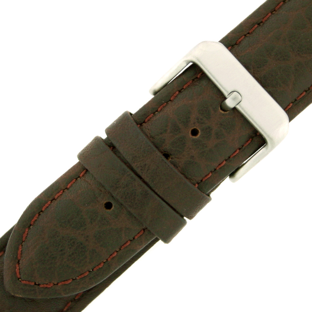 Dark Brown Long Leather Watch Band | Tobacco Brown Long Leather Straps | TechSwiss LEA1400 | Buckle