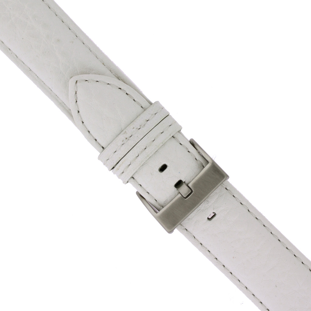 Long White Leather Watch Band | Long Pebbled Leather Watch Strap | TechSwiss LEA1367XXL | Buckle