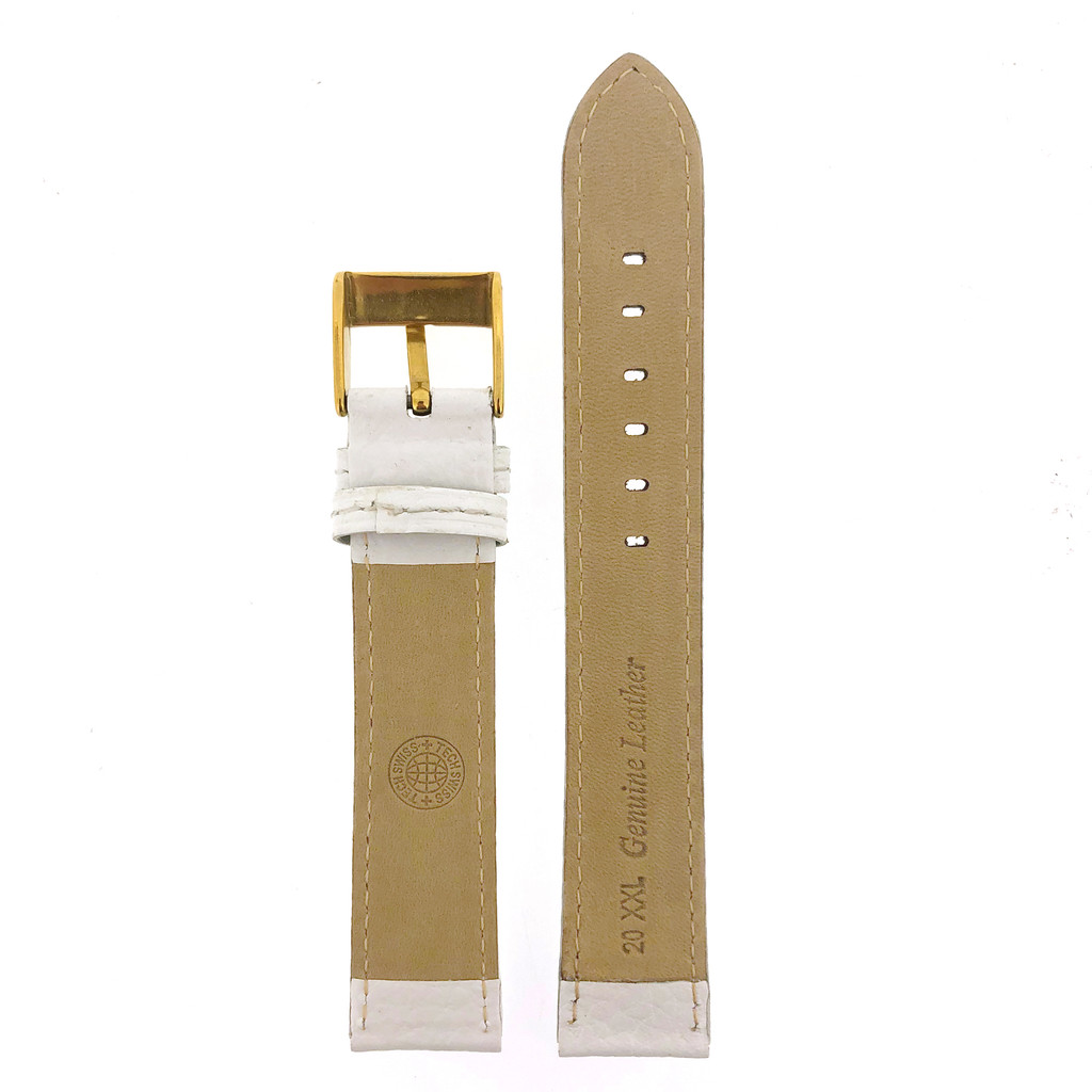 Extra Long White Leather Watch Band Padded 20mm 22mm 24mm
