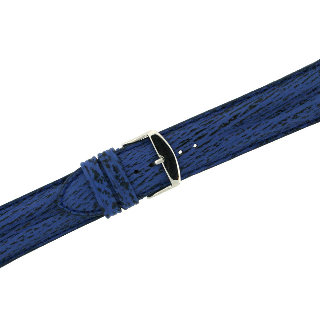 Navy Shark Skin Watch Band | Blue Exotic Grain Watch Straps | TechSwiss LEASH10BLUE | Buckle