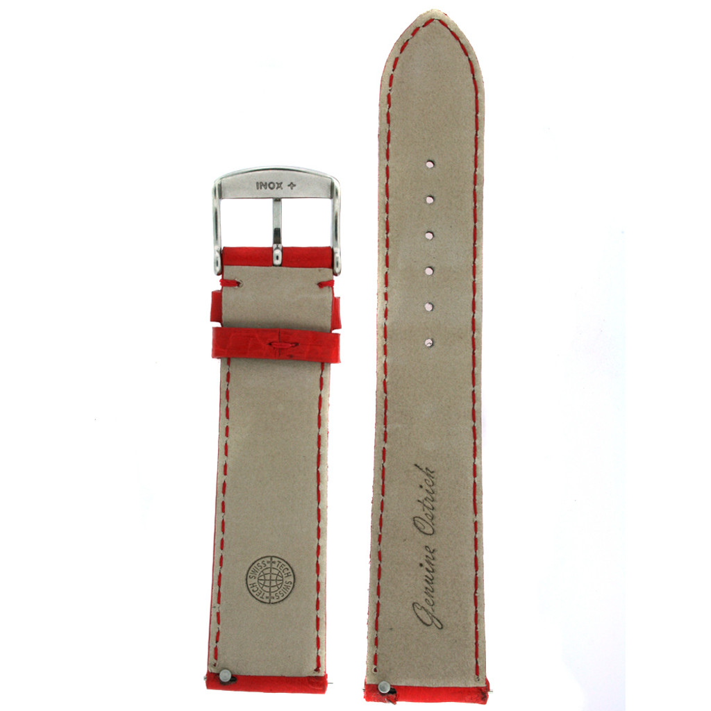 Red Ostrich Skin Watch Band | Genuine Exotic Skins | TechSwiss LEA1000 | Lining