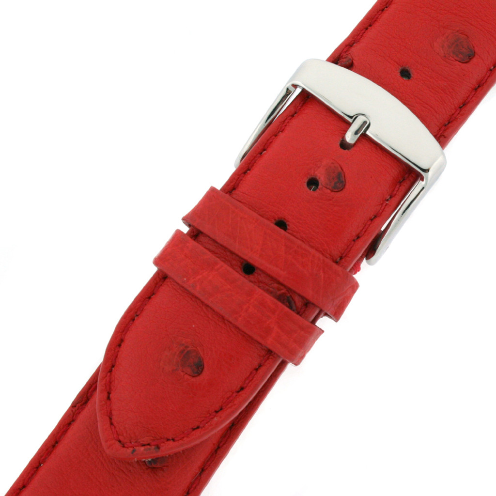 Red Ostrich Skin Watch Band | Genuine Exotic Skins | TechSwiss LEA1000 | Buckle