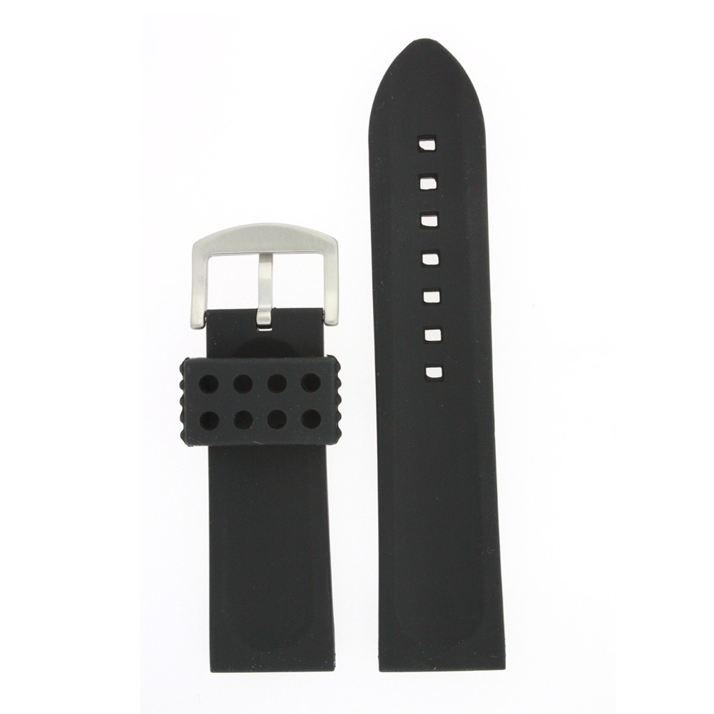 Silicone Rubber Watch Band Stainless Steel Black - Back