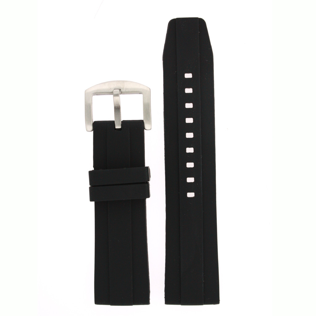 Silicone Rubber Watch Band in Black 24mm