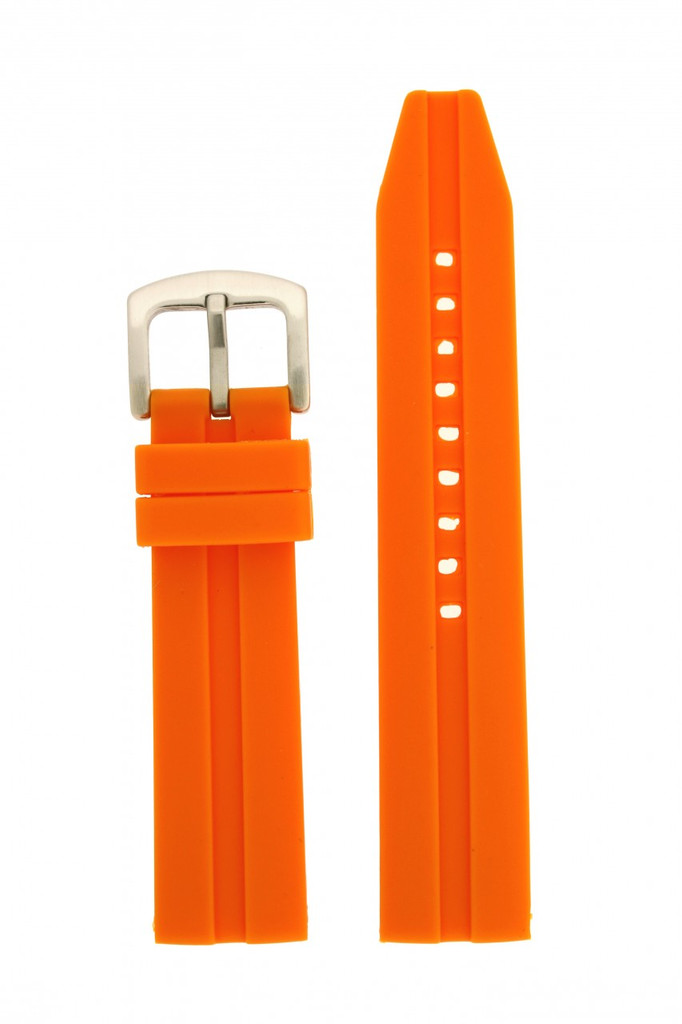 Watch Band Silicone Rubber Heavy Orange Strap Waterproof 22mm