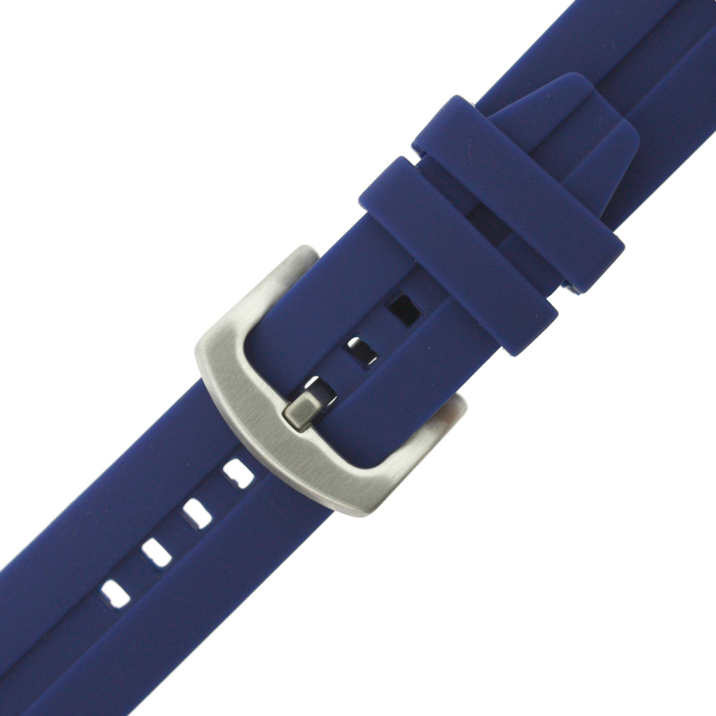 Blue Silicone Watch Strap   22mm Blue Rubber Watch Band   Navy Blue Silicone Watch Band   TechSwiss 22mm Blue Silicone Watch Band  RS131BLU   Buckle