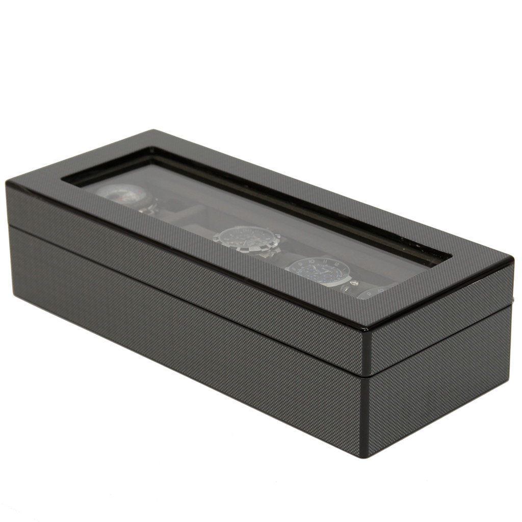 Carbon Fiber Finish | 5 Watch Box | TSBOX6100CF | front closed angle