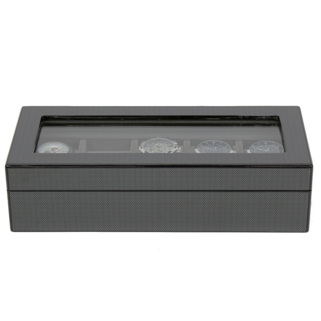 Carbon Fiber Finish | 5 Watch Box | TSBOX6100CF | front closed