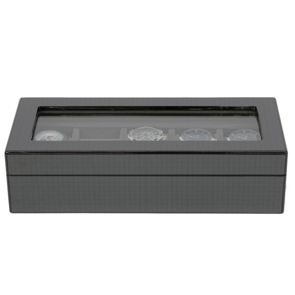 Carbon Fiber Finish | 5 Watch Box | TSBOX6100CF | front closed