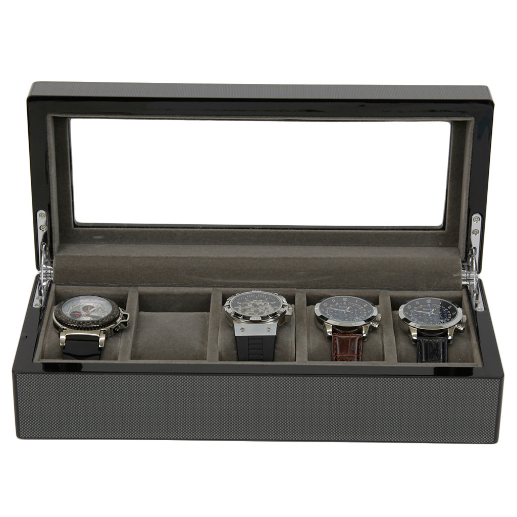 Carbon Fiber Finish | 5 Watch Box | TSBOX6100CF | front open straight