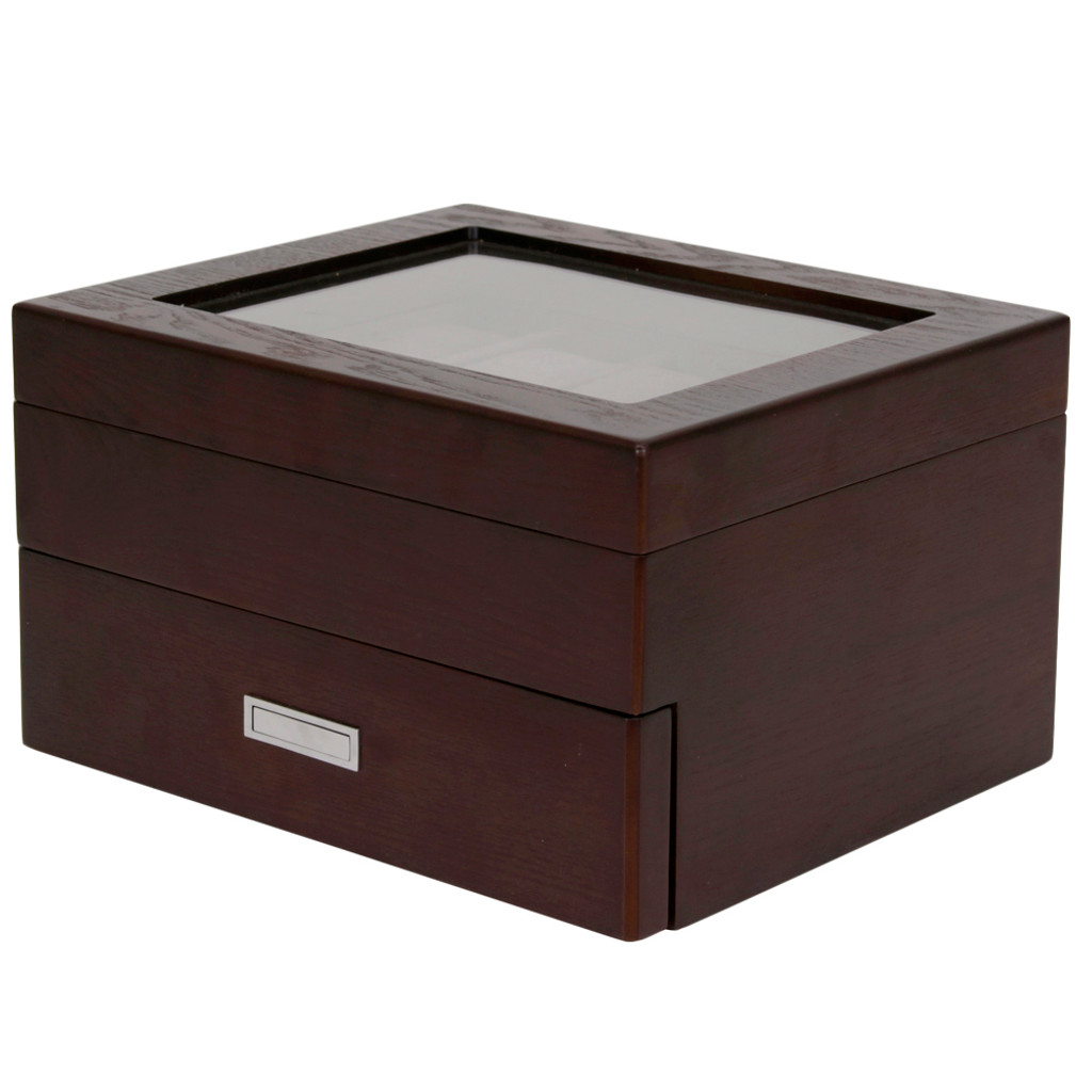 Brown Espresso 20 | Watch Box with High Clearance | TSBOX20ESS closed angle