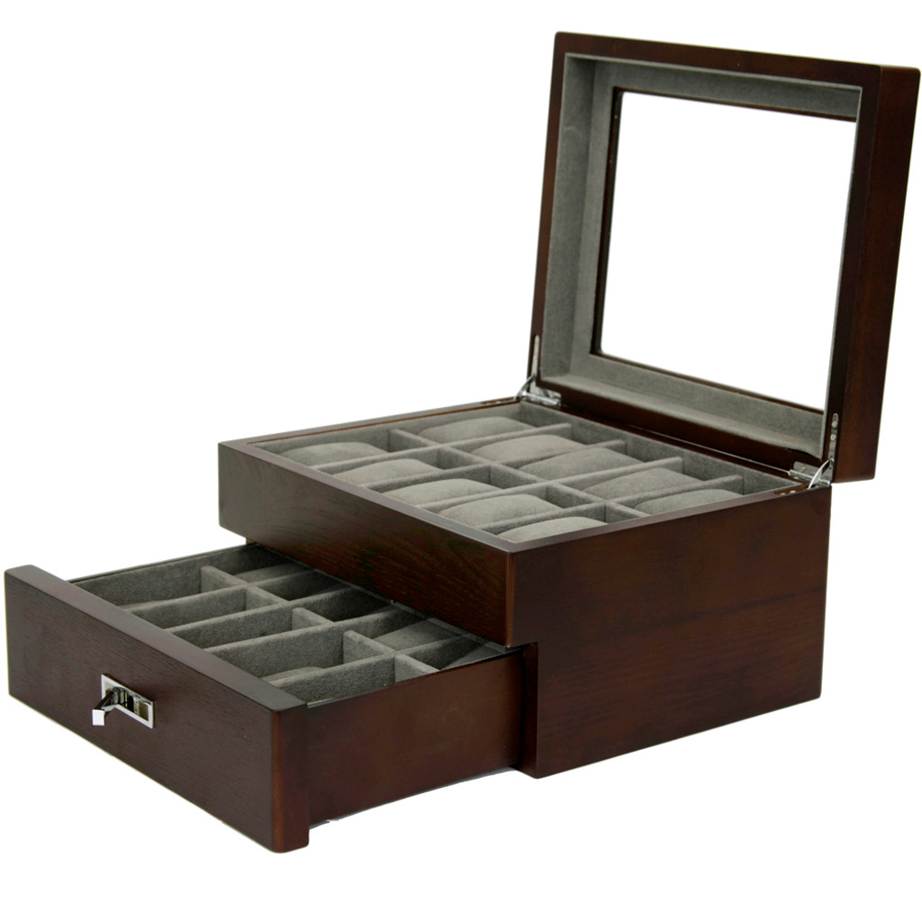 Brown Espresso 20 | Watch Box with High Clearance | TSBOX20ESS open angle 2