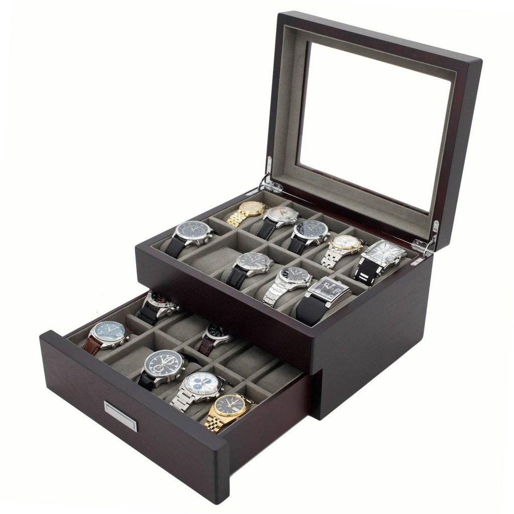 Brown Espresso 20 | Watch Box with High Clearance | TSBOX20ESS open angle